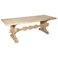 19th Century Italian Baroque Style Bleached Tuscany Trestle Farm Table