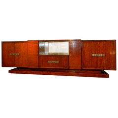 Decoene Freres, Large Art Deco Sideboard in Shimmering Mahogany, circa 1930