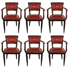 Set of Six Art Deco Armchairs, circa 1930