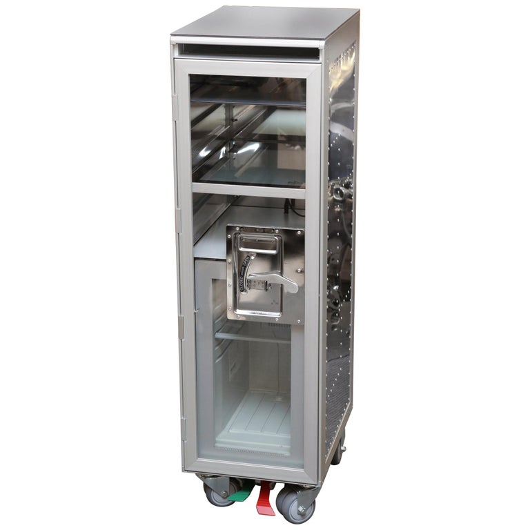 Chrome Trolley Aircraft with Fridge and Lighted Panel For Sale
