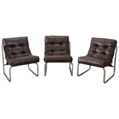 20th Century Italian Design Brown Leather Three of Armchairs, 1980s