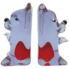 Rare Vintage Murano Glass Bookends, Lavender and Red Color Dog Pair by Cenedese