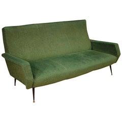 20th Century Green Fabric and Metal Italian Design Sofa, 1960