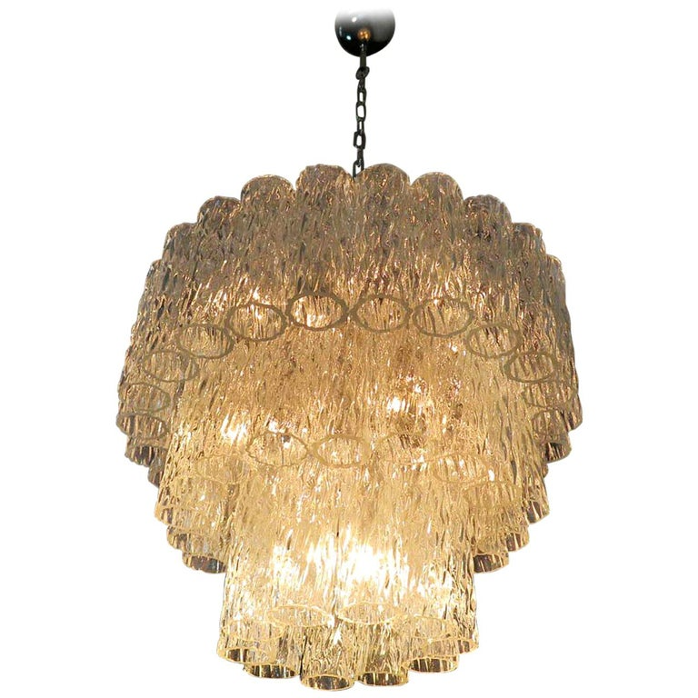 Large Three-Tier Murano Glass Tube Chandelier For Sale