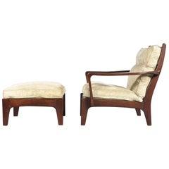 Scandinavian Lounge Chair and Ottoman, 1970s