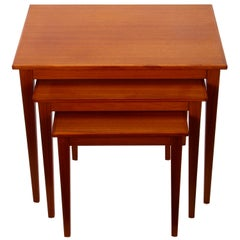 TEAK Nest of Tables by Form Funktion Kvalitet, 1960s Danish Modern Set of 3 Nest