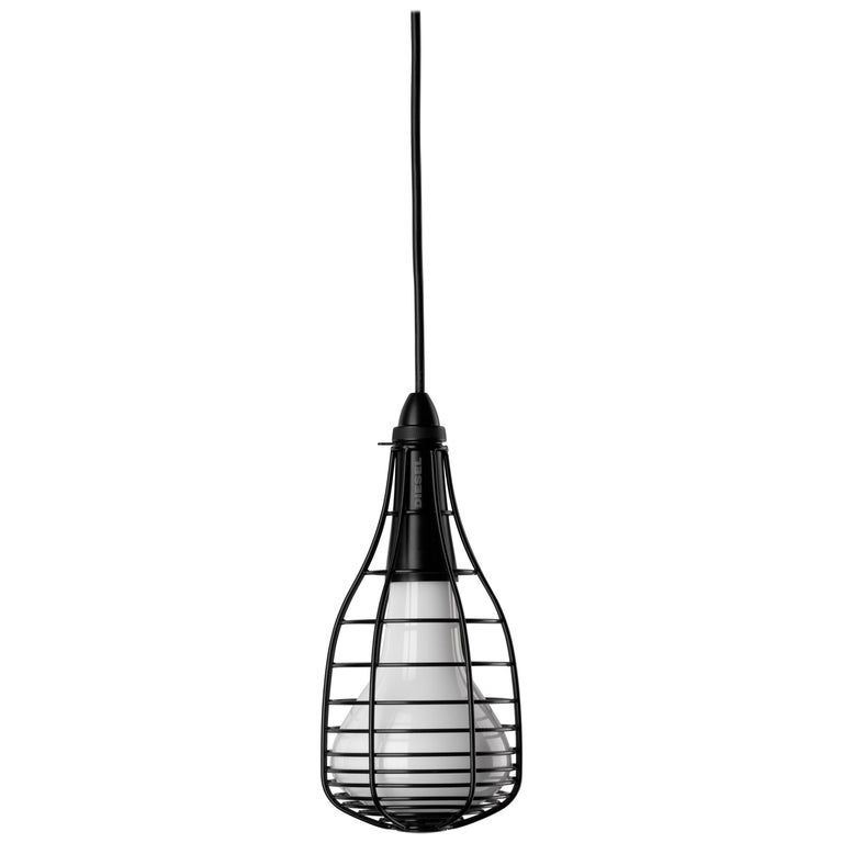 Foscarini Cage Mic Suspension Lamp in Black by Diesel For Sale