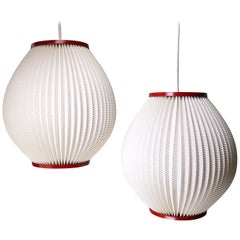 Pair of Danish Modern Schiøler for Høyrup Cream, Red Pleated Pendants, 1960