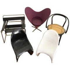 5 Miniatures 2panton Chairs 1 Wassilychair 1 Thonetchair  1Fledermauschair Vitra
