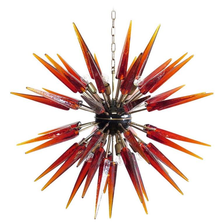 Exceptional Murano Amber Glass Sputnik Chandelier, 51 Glasses