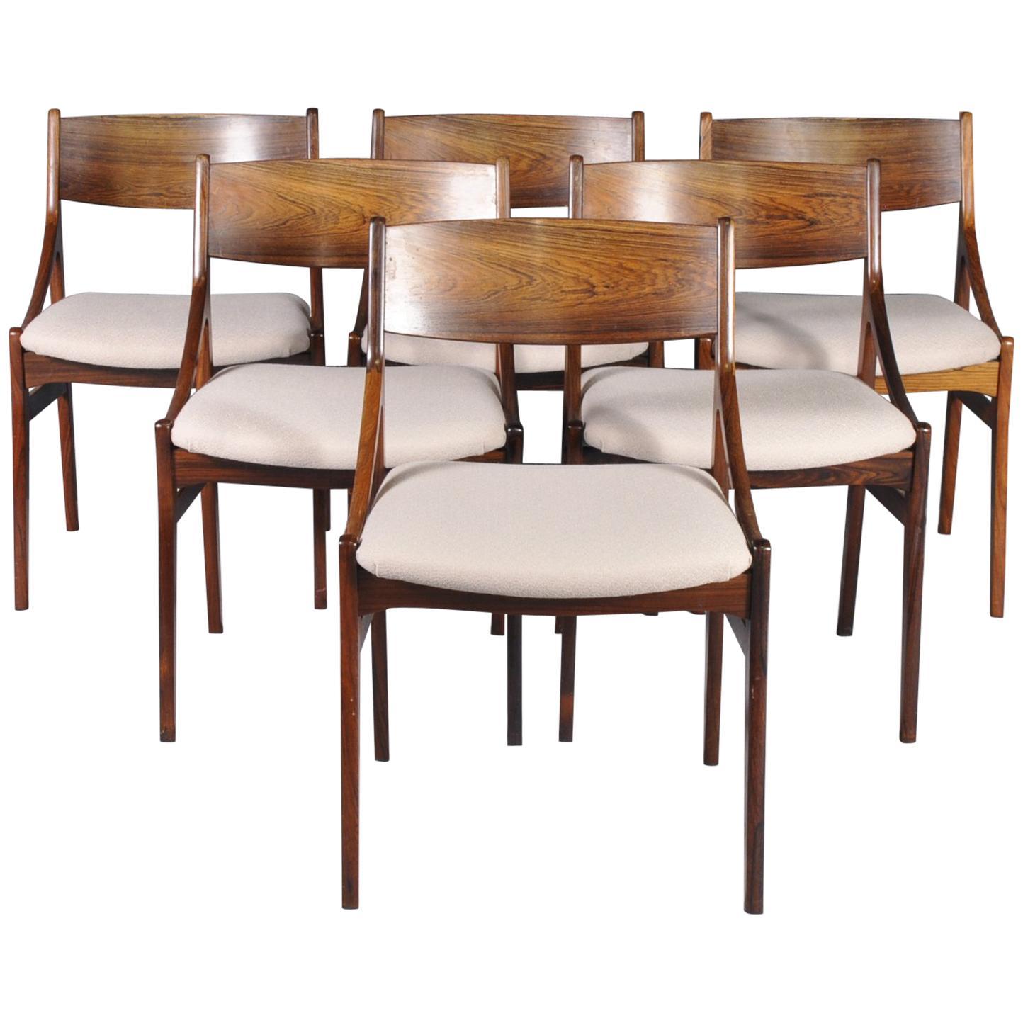 Vintage Rosewood Chairs By H. Vestervig Erikson For Brdr Tromborg Lystrup  Denmak For Sale