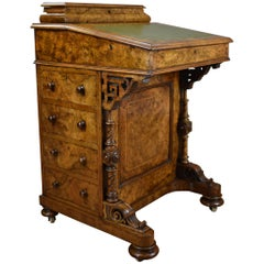 19th Century English Victorian Burr Walnut Davenport Writing Desk