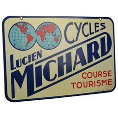 Double-Sided Metal Trade Sign for Cycles Lucien Michard, France, 1950s