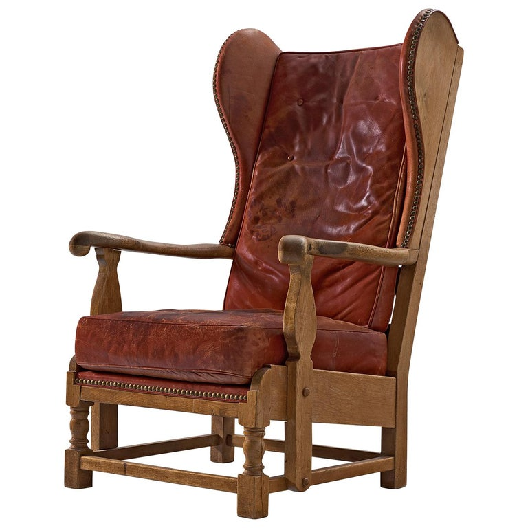 Danish Red Leather and Oak Wingback Chair For Sale