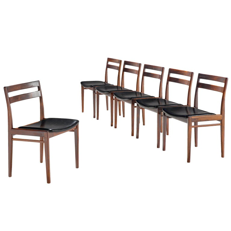 Rosengren Hansen Set of Six Rosewood Dining Chairs For Sale