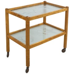 1930s Scandinavian Drink Cart with Acid Etched Glass