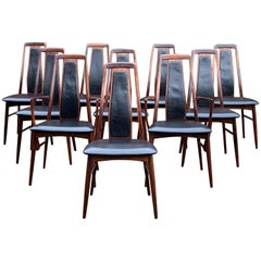 Niels Koefoed Eva Rosewood Dining Chairs Set of 10 Danish Midcentury, circa 1965