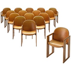Afra and Tobia Scarpa Dialogo Cognac Leather Dining Chairs