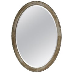 Large Antique Bleached Mahogany Oval Mirror.
