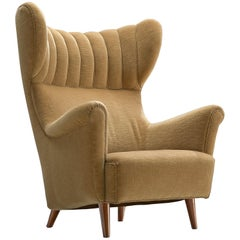 Danish Wingback Chair in Velvet and Teak, 1940s