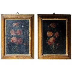 Pair of 19th Century Italian School Oil & Tempura on Canvas Studies of Roses