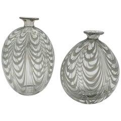 "Pair of Murano Glass Vases in ""Fenicio"" Festooning Pattern by Cenedese, 1970s"