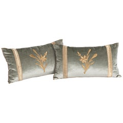 Pair of Pastel Green Colored Velvet Pillows with Antique Metallic Embroidery