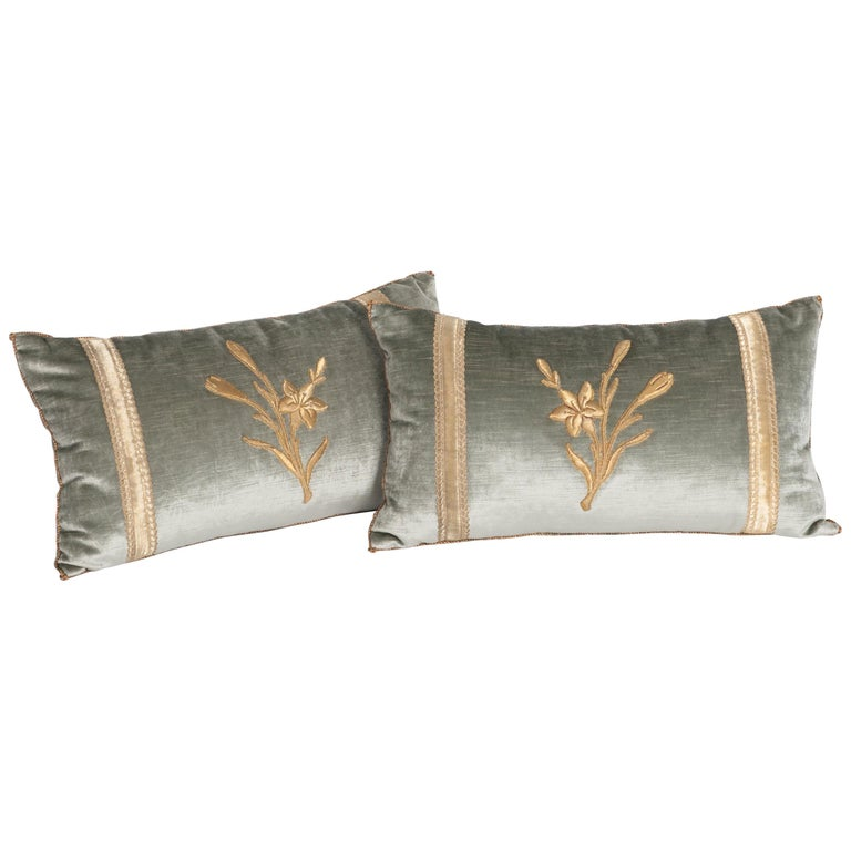 Pair of Antique Embroidery Pillows Pastel Green Colored For Sale