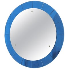 Mid-century Modern Cristal Arte Monumental Blue Round Wall Mirror, Italy  1950s