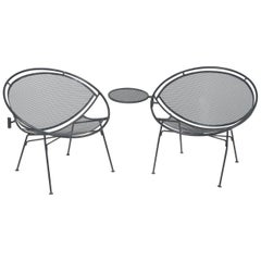 Iconic Salterini Mid-Century Modern Patio Chairs with Attached Side Table, Pair
