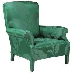 Emerald Green Silk Fancy Vintage Club Chair