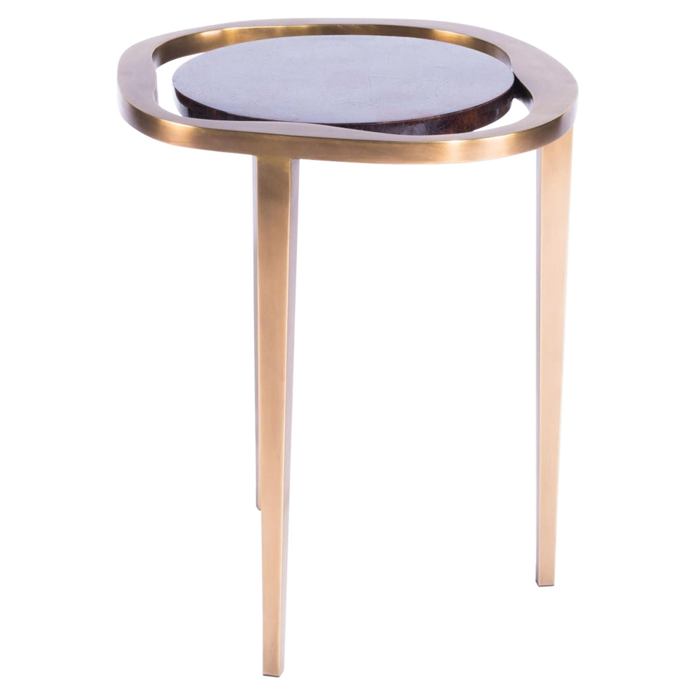 Nesting Side Table Lily S in Black Shell and Bronze Patina Brass by R&Y Augousti