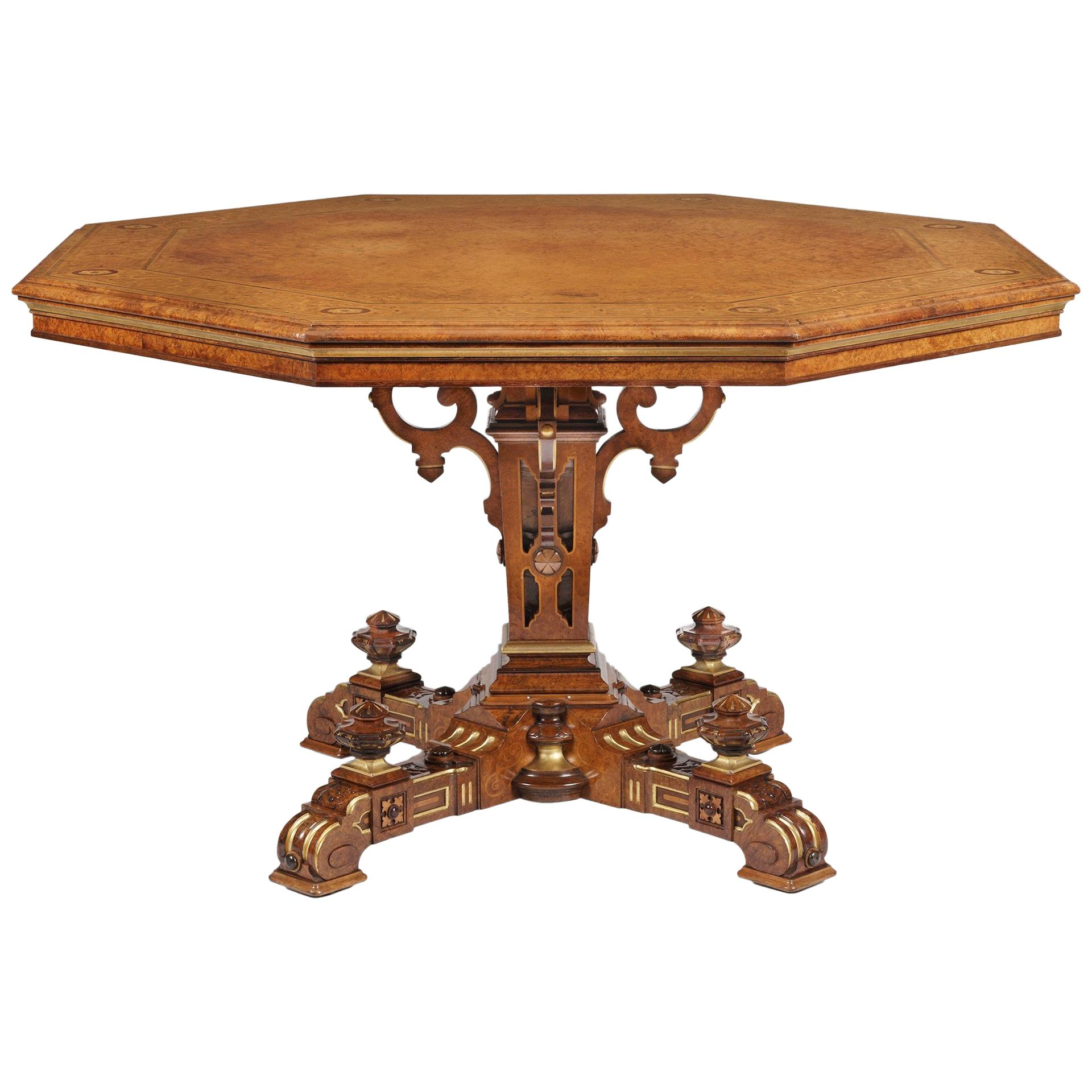 Mid-19th Century Amboyna Octagonal Centre Table