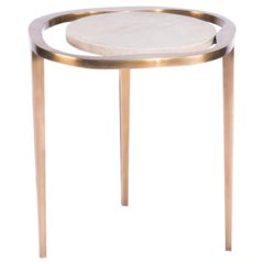 "Nesting Side Table ""Lily M"" in Shagreen and Bronze Patina Brass by R&Y Augousti"