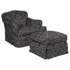 Fetching Black and White Club Chair and Ottoman in Chic Tribal Upholstery