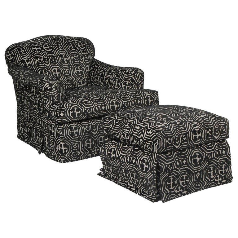 Fetching Black and White Club Chair and Ottoman in Chic Tribal Upholstery For Sale