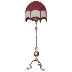 Arts and Crafts Copper and Brass Extendable Standard Lamp