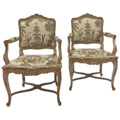 Elegant Pair of Distressed Painted Carved Wood French Armchairs
