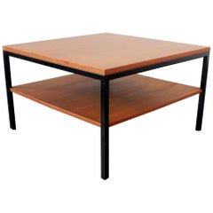 Vintage Wood and Metal Coffee Table with Extra Low Shelf