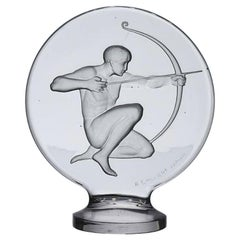 French Clear Glass Car Mascot 'The Archer' by René Lalique