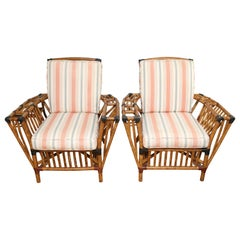 Pair of Vintage Bamboo President Armchairs