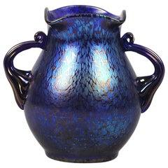 Art Nouveau Iridescent 'Blue Papillon Vase' by Johann Loetz