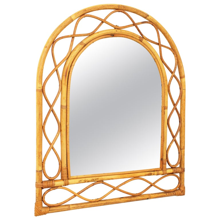 French Riviera Midcentury Semi Oval Bamboo and Rattan Mirror For Sale