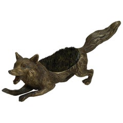 Figural Antique Austrian Bronze Pen/Nib Wipe - Fox, circa 1900