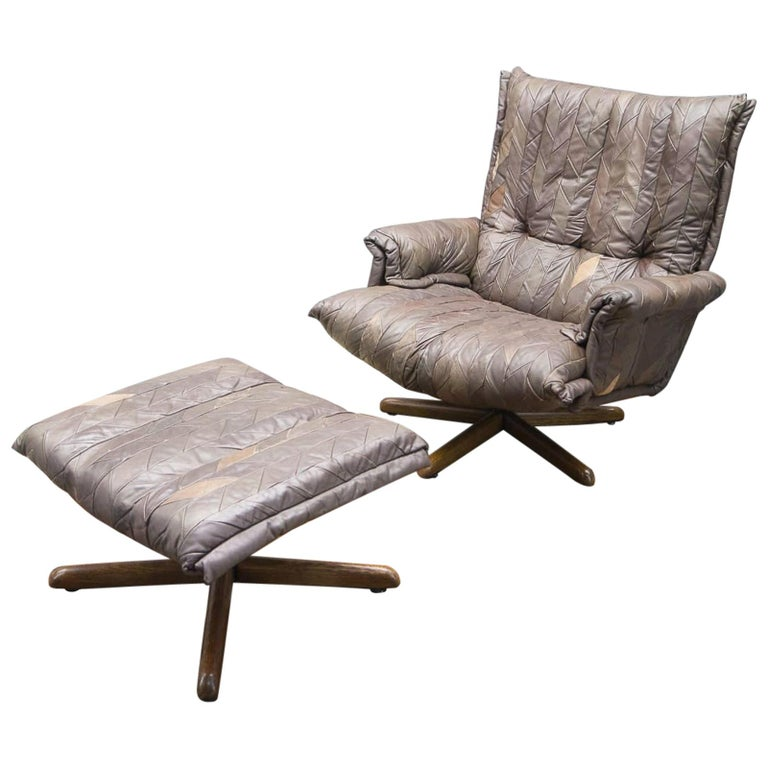 Leather Patchwork Armhair Cavaliere & Ottoman, André Vandenbeuck for Stässle For Sale