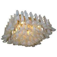 Spectacular Murano Glass Petal Chandelier or Flush Mount