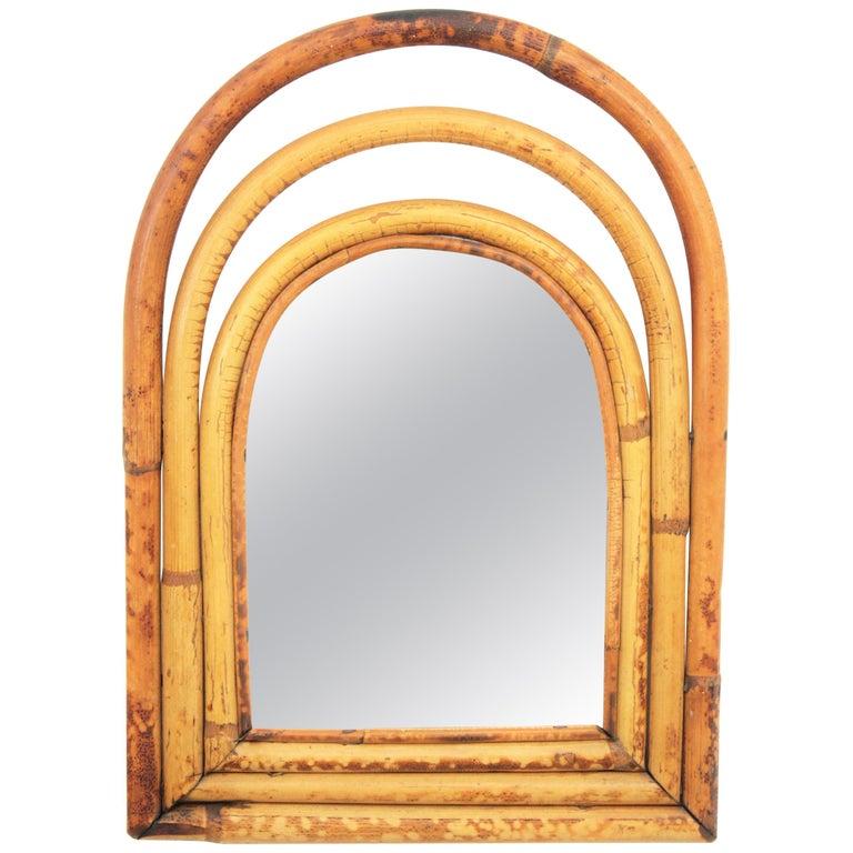 Franco Albini Style Mini Sized Semioval Bamboo Mirror For Sale