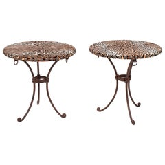 1970s Pair of French Guéridon Leopard Upholstered Tables with Iron Legs