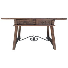 18th Century Spanish Baroque Walnut Trestle Table, Restored