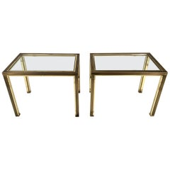 Pair of Brushed steel and Brass Side Tables from Belgo Chrome, 1980s